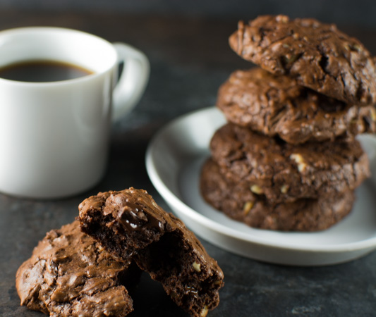 Gooey Double Chocolate Mocha Cookies