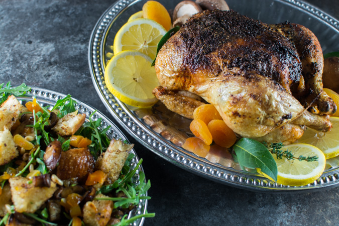 Roast Chicken With Mushroom Bread Salad