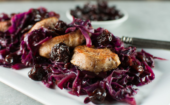 Pork Tenderloin With Sweet and Sour Cabbage And Dried Cherries