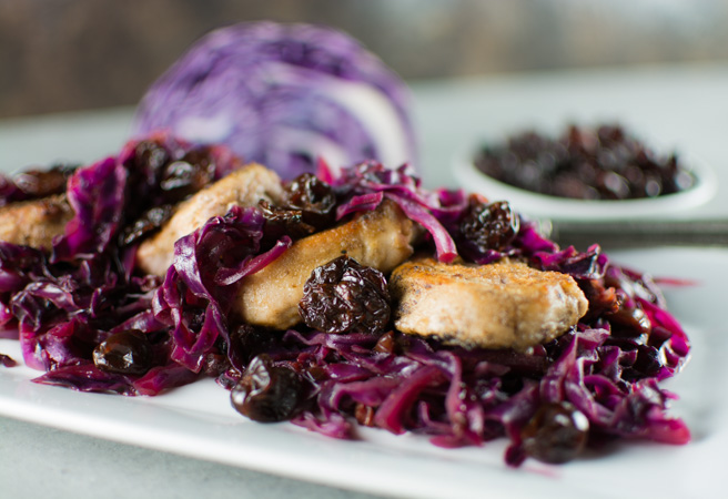Porl Tenderloin with Sweet and Sour Cabbage and Dried Cherries
