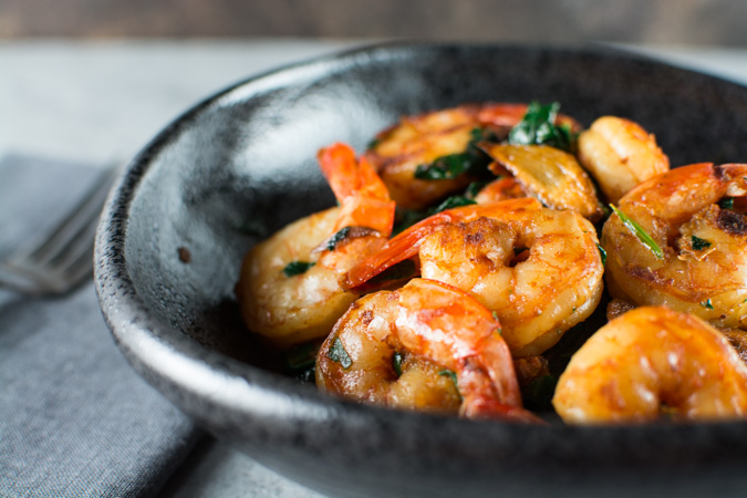 Shrimp With Spinach, Smoked Paprika, and Garlic